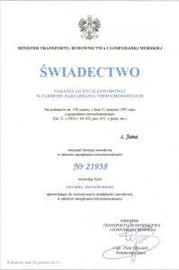 świadectwo nadania licencji zawodowej w zakresie zarządzania nieruchomościami